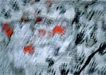 Empreintes de mains peintes sur la surface, floue