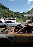 Car junkyard in rural area