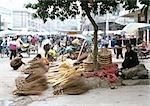 China, Guangxi Autonomous Region, Laibin, broom seller at open-air market