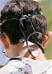 Israel, Jerusalem, boy wearing tefillin, focus on head, rear view