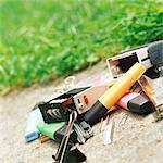 Office supplies on sidewalk