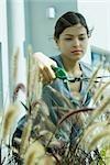 Young woman pruning bush