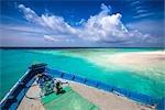 Gros plan de la proue du bateau, Banyan Tree Madivaru, Madivaru, Maldives