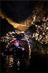 Tourist Black Water Rafting, Waitomo Caves, North Island, New Zealand