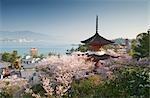 Tahoto Pagoda with Itsukushima Shrine Torii Gate and Five Story Pagoda in the Distance, Miyajima Island, Hatsukaichi, Hiroshima Prefecture, Chugoku Region, Honshu, Japan