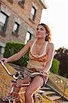 Woman Riding Cruiser Bike, Portland, Oregon, USA