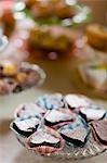 Close up of heart shaped mini cakes