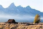 Ein Lauffeuer Rauch bei John Moulton Scheune, Mormon Zeile, Jackson Hole, Grand Teton, Grand-Teton-Nationalpark, Wyoming, USA