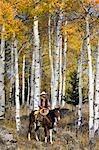 Cowboy zu Pferd in Aspen Wald, Wyoming, USA