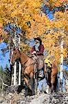 Cowboy auf Pferd, Wyoming, USA
