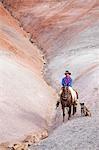 Cowboy auf Pferd in Badlands, Wyoming, USA