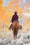 Cow-girl Riding Horse, Wyoming, Etats-Unis