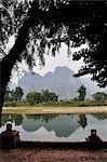 Rivière Nam Song et montagnes Karst calcaire, Vang Vieng, Province de Vientiane, Laos
