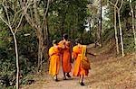 Moines marchant sur le chemin, Si Phu, Luang Prabang, Laos