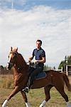 Polospieler auf Pferd, Brush Prairie, Washington, USA