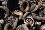 Scrap car tires and rims