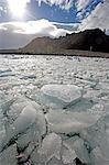 L'Antarctique, la péninsule Antarctique, Yankee Harbour. Lumière dramatique et les nuages au-dessus du port de Yankee, une station baleinière américaine ancien.