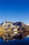 Perfect reflection in lake at Schwarzee Paradise of a small mountain hut,Zermatt,Valais,Switzerland