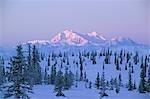 USA, Alaska. Lever du soleil janvier 26,2005 sur le mont McKinley, tel que vu du large passage dans la chaîne de l'Alaska au sud de Cantwell. Mont McKinley est aussi connu sous le nom Denali et est l'attraction touristique dans l'état de l'Alaska. La montagne est au milieu du Parc National Denali.