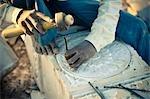 Stone Mason Carving Stone for a Jain Temple, Nashik, Maharashtra, India