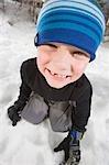 Porträt eines jungen im Winter, Steamboat Springs, Colorado, USA