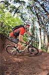 Man Mountain Biking on the Post Canyon Trail Near Hood River, Oregon, USA