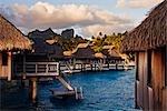 Bora Bora Nui Resort with Mt Otemanu in Distance, Bora Bora, Tahiti, French Polynesia