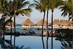 Swimming Pool and Huts, Bora Bora Nui Resort, Bora Bora, Tahiti, French Polynesia