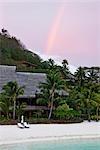Rainbow over Bora Bora Nui Resort, Bora Bora, Tahiti, French Polynesia