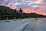 Sunrise over Bora Bora Nui Resort, Bora Bora, Tahiti, French Polynesia