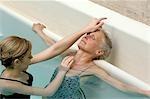 Older woman receiving water massage