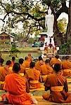 Monks Praying, Wat Traphang Thong, Sukhothai Historical Park, Sukhothai, Thailand