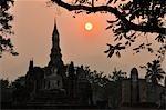 Sunset at Wat Phra Si Mahathat, Sukhothai Historical Park, Sukhothai, Thailand