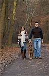 Paar Spaziergang mit ihrem Hund im Wald