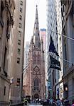 Trinity Church, Broadway and Wall Street, New York City, New York, United States of America, North America
