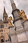Angel Statues and Zagreb Cathedral, Kaptol, Zagreb, Croatia