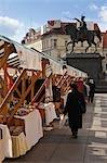 Marché sur la place Jelacic, Zagreb, Croatie