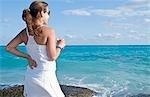 Femme à la plage, Playa del Carmen, péninsule du Yucatan, Mexique