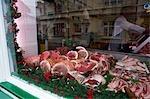 Butcher Shop Window, Porlock, Somerset, England