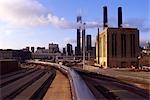 Railroad tracks heading into Chicago, Illinois