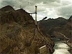 Construction du nouveau pont de Hoover, côté Arizona de rivière barrage Hoover, Grand Canyon et Colarodo