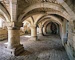 Burton Agnes Manor House. vue de la crypte du XIIe siècle.