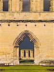 Byland Abbey. Découvre à travers l'entrée de l'ouest le long de la nef.