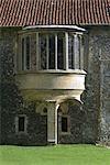 Castle Acre Priory.View d'hébergement du Prieur, détail de la fenêtre.