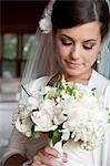 Portrait de mariée bouquet
