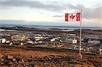 Canadian Flag over Iqaluit, Nunavut, Canada