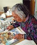 Artist Stencil Printing, Holman Island, Northwest Territories, Canada