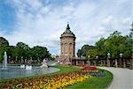 View of Mannheim Water Tower, Mannheim, Baden-Wurttemberg, Germany