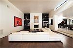 White seating in spacious luxury apartment