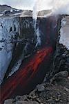 Molten lava and smoke of Eyjafjallajokull, Fimmvorduhals, Iceland
